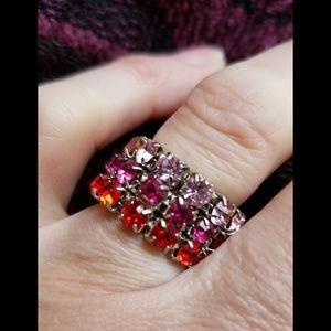 Multi color gem stone stretch ring blingy & fun